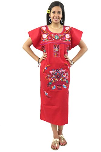 Mexican Dress Puebla Hand Embroidered (Red, Small)