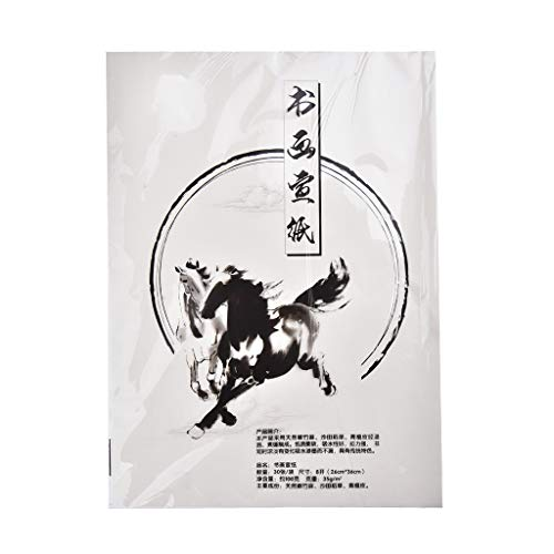 Papel tradicional para caligrafía china/japonesa, blanco, 30 paginas, 36cm x 26cm, approx A4, Art. PP-01 Z53108