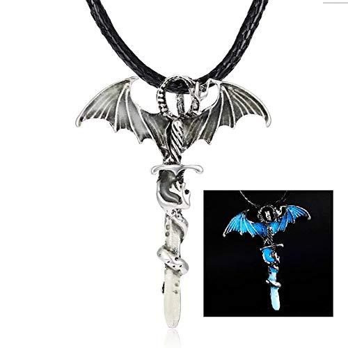 FKJSP Noche del Collar Pendiente De La Vendimia Glow In The Dark Dragon Sword Collares For Hombre Metal Animal Luminoso Fluorescencia (Metal Color : Blue)