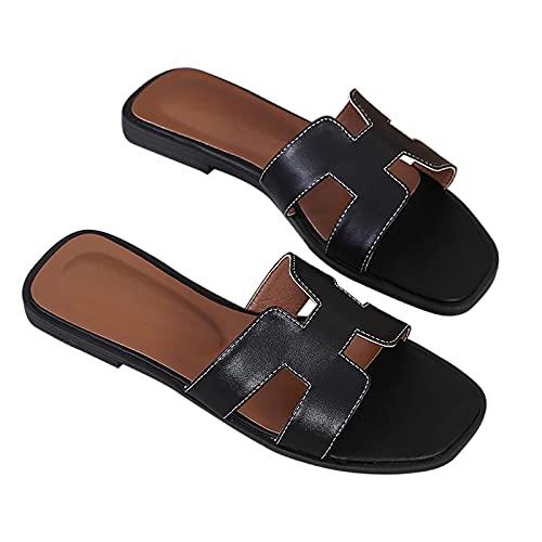 HAQMG Sandalias Negras De Verano Zapatos Planos De Mujer Sandalias De Moda Y Diapositivas para Exteriores Al Aire Libre De Punta Abierta Suave Piel De Oveja con Soporte De Arco Sandalias De Playa