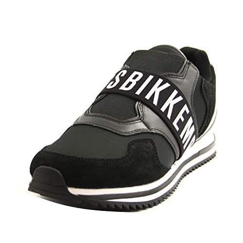 Bikkembergs B4BKM0053 Sneakers Slipon zum Reinschlüpfen für Herren Leder und Stoff Schwarz Weiß, Schwarz - Schwarz - Größe: 43 EU