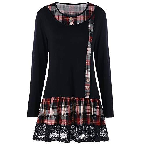 Xmiral Damen Kleid Polyester beiläufige Spitze Plaid Druck Patchwork Kleid Oansatz Langarm Minikleid (L,Schwarz)