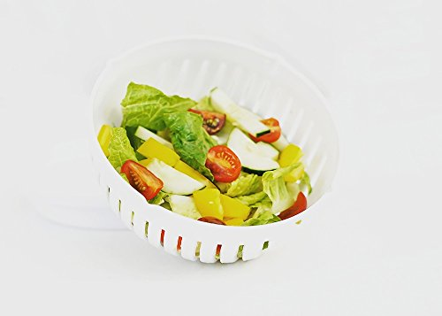 Salad Bowl Chopper, a 60 second salad cutter bowl that serves as a salad drainer, vegetable and fruit slicer and salad bowl. The perfect salad slicer every kitchen needs.