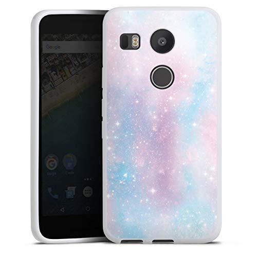 DeinDesign Silikon Hülle kompatibel mit Google Nexus 5X Hülle weiß Handyhülle pink Glitter Galaxie