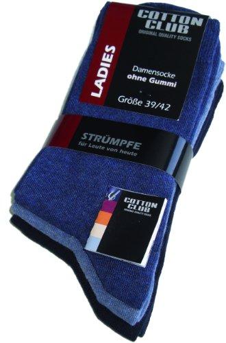 Cotton Club Damen-Socken ohne Gummi mit Lycra 9erPack (39-42, blautöne)