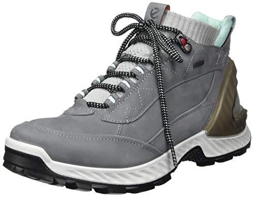 ECCO Women's Exohike High Gore-TEX Hiking Boot, Titanium/Concrete Nubuck, 10-10.5