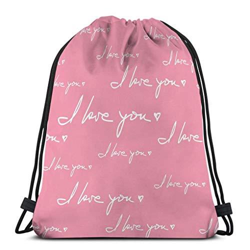 Gimnasio Bolsas con cordón Dance Sport Gym Bolsas ligeras con cordón Mochila te amo frase escrita a mano citas románticas colocadas al azar textura de envoltura rosa adecuada Ideal