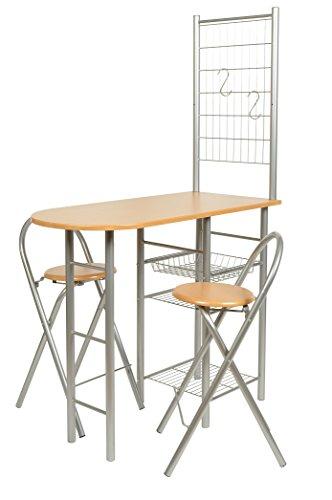 ts-ideen Set 3 pezzi Tavolo con 2 sgabelli e griglia appenditutto in Alluminio e MDF color Faggio per Cucina o Sala da Pranzo