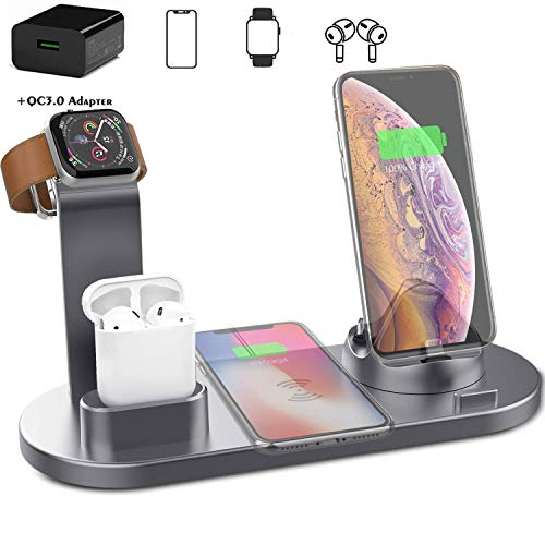 ZWMM Wireless Charger Stander kabelloses Schnellladegerät kabelloser Ladeständer, 4-in-1-Dockingstation für kabellose Ladestationen für iPhone/Apple Watch/AirPods