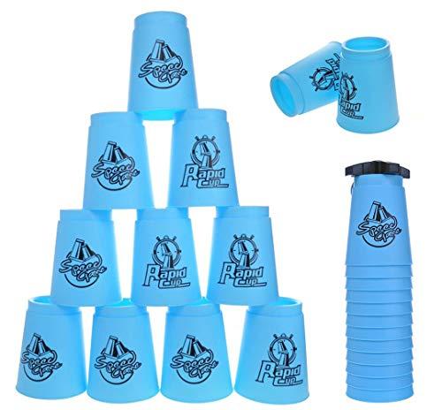 DEWEL 12er Quick Stacks Cups Sport Stacking Stacks Cups mit Stange Stapeln Tassen Stacking Geduldsspiel, Macht Spaß für Groß und Klein (Blau)