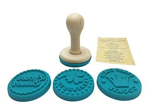 EAST-WEST Trading GmbH 4 x Glückskeks-Stempel: Keksstempel-Set für Glückskekse, Plätzchenstempel-Set, Stempel-Set für Glückskekse, Cappuccino Kekse, 4 Verschiedene Designs + Rezept