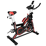 Naspaluro Exercise Bikes, Stationary Infinite Resistance Workout Bike with Phone Holder/Heart Moniter/LCD Monitor, Smooth Belt Drive Fitness Cycling Bicycle for Home Cardio Workout, Red