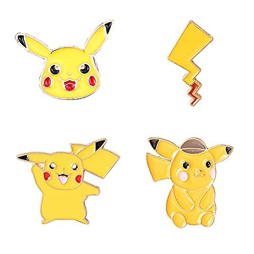 Super-ZS 4Pcs Cartoon Brosche, Süße Pikachu Legierung Emaille Abzeichen Kleidung Hosen Rucksack Jungen Und Mädchen Sicherheitsnadeln