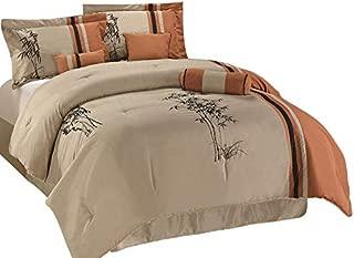 Chezmoi Collection Kariya 7-Piece Embroidery Bamboo Comforter Set, Queen, Rust/Light, Taupe, Orange