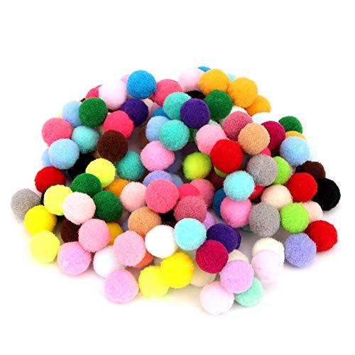JIAHUI 100 pompones de varios tamaños para muñecas, hechas a mano, pompones suaves, esponjosos para manualidades, decoración del hogar, suministros de costura (color: 15 mm, 100 unidades)