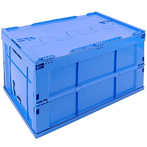 PrimeMatik - Caja de plástico EuroBox Plegable y apilable. Contenedor Azul con Tapa 60x40x32cm 65L