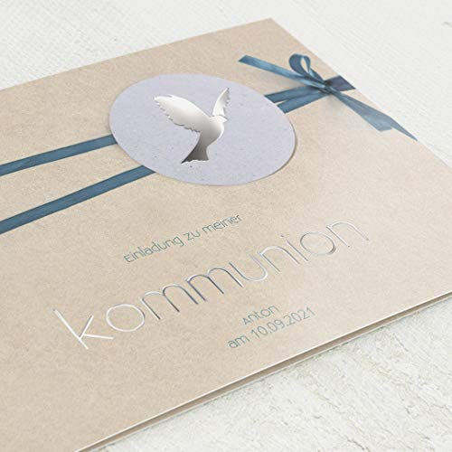 sendmoments Einladungskarten zur Kommunion, Blaues Band, Einladung 5er Klappkarten-Set C6, personalisiert mit Text & Fotos, Silberfolien Veredelung, optional Design-Umschläge