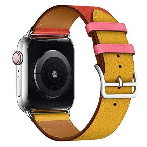 Correa de cuero de vaca para Apple Watch Bandas 42 mm 44 mm Para Iwatch Series 6 5 4 3 2 1 SE Accesorios Bucle 38 mm Reemplazo de pulsera 40 mm,Red amber yellow38 or 40mm