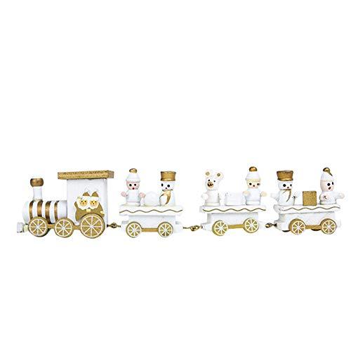 ZahuihuiM Décorations De Noël Bois De Noël Petit Train Enfants Maternelle Fête Coffre-Fort Cadeau (Blanc, 21x4.5cm)