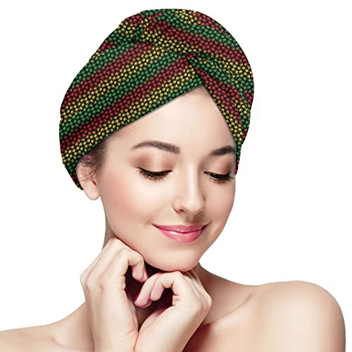 Toalla de pelo de microfibra Wrap Marihuana Super Absorbente Twist Turban Casquillos de pelo de secado rápido con botones
