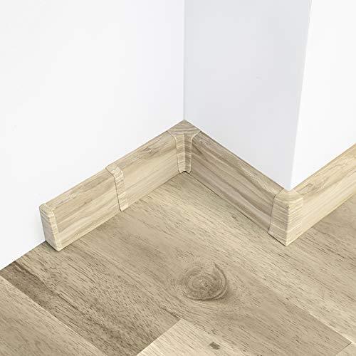 [DQ-PP] 30 Meter Sockelleisten 55mm PVC Esche Weiß Laminatleisten Fussleisten aus Kunststoff PVC Laminat Dekore Fußleisten