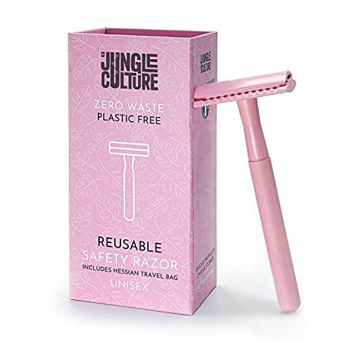 Jungle Culture® Rasierhobel Damen & Herren   Umweltfreundlicher Nassrasierer für Frauen   Einzelklingen Metall Rasierer für Körper & Gesicht   Beauty Geschenk & Reisetasche   Zero Waste Safety Razor