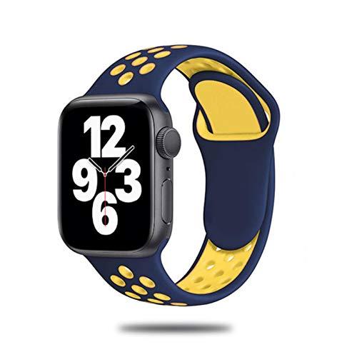 Correa de silicona para Apple Watch Band 44 mm 40 mm 42 mm 38 mm Reloj inteligente transpirable Pulsera deportiva para IWatch Serie5 4 3 SE 6-azul-amarillo 35, para 38 o 40 Mm