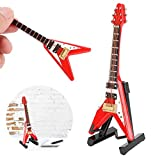 Miniature Red Electric Guitar Ornament, Wooden Miniature Guitar with Stand, V‑Shaped Guitar Model with Case, Mini Musical Instrument Model for Featival Decoration and Holiday Tree Ornament