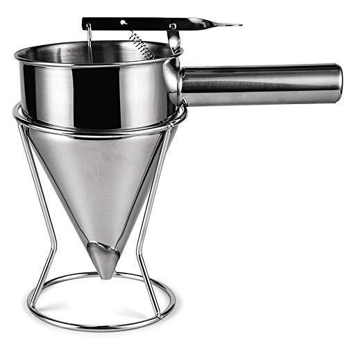 Eighty Entonnoir à piston en acier inoxydable avec support - Entonnoir à pâtisserie - Entonnoir à pistons pour sauce, crème doseuse - Distributeur de pâte, dessert, ustensiles de cuisine