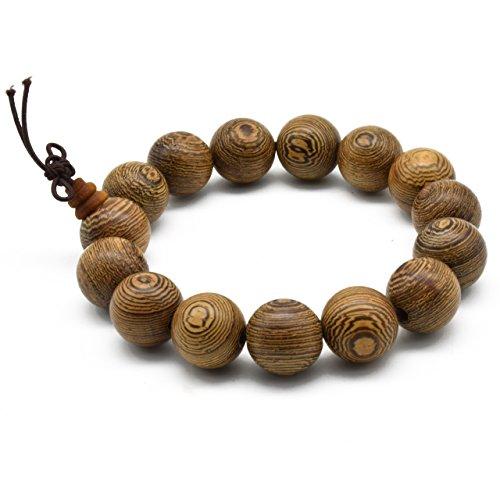 Zen Dear Unisex Natural Wenge Wood Mala Prayer Beads Necklace Bracelet Meditation Buddhist Rosary Mala Beads (15mm 15 Beads)