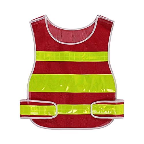 swq Ropa Reflectante, Malla Ajustable, Chaleco cómodo de Seguridad Transpirable, cinturón Reflectante de 360 ° Alto, Ropa de Trabajo Unisex (Color : Red, tamaño : 3 Packs)