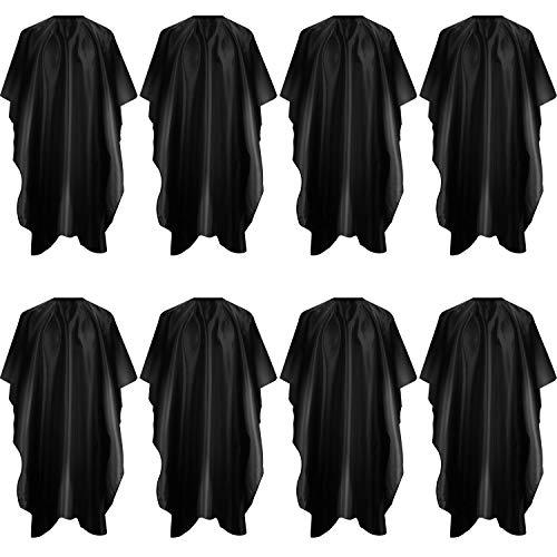 8 Pièces Cape de Coupe de Cheveux de Salon Cape de Coiffeur Tablier Coupe de Cheveux Cape de Coiffure Coupe de Cheveux Imperméable avec Crochet et Boucle pour Barbiers Salons de Coiffure, Noir