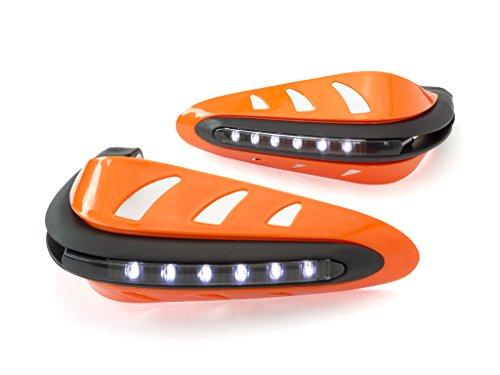Orange Motorrad Quad Handprotektoren Protektoren mit LED Tagfahrlicht DRL