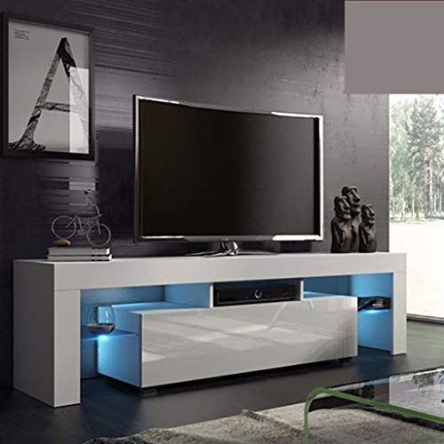 MOMFEI White TV Stand with Lights, Modern LED TV Stand with Storage Drawers,High Gloss TV Stand for 43/50/55 65 Inch TV Living Room Entertainment Center Media Console Table (White 51×13.8×17.7inch)