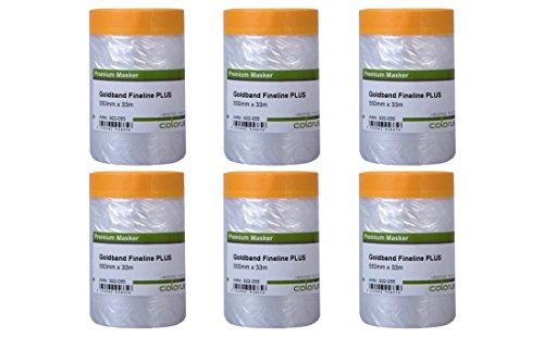 6 x Colorus Klebeband mit Folie PLUS | Goldband Fineline 55 cm x 33 m Masker Tape | 60 Tage UV-beständig, Innen und Außen | Selbstklebende Malerfolie | Abklebeband mit Abdeck-Folie