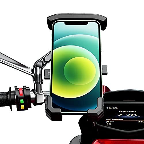 Soporte movil Moto Scooter sujecion al Espejo retrovisor y 4 Brazos en Aluminio Compatible con telefonos moviles de hasta 7.5
