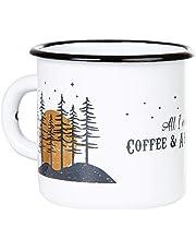 Coffee & Adventure - Hoogwaardige emaille mok met outdoor design, licht en onbreekbaar, voor camping en trekking - van MUGSY.de