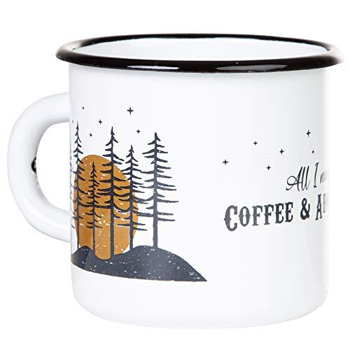 Coffee & Adventure - Hochwertige Emaille Tasse mit Outdoor Design, leicht und bruchsicher, für Camping und Trekking - von MUGSY.de