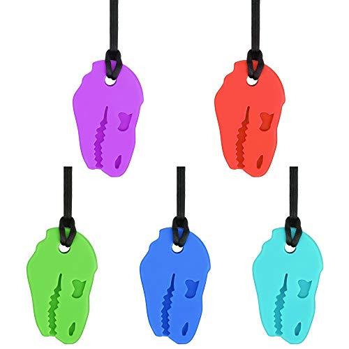 yidenguk Beißring für babys kühlend, 5 Stück Dinosaurier Beißring Halskette Sensory Chew Halskette für Kinderkrankheiten,Autismus ADHS SPD,Oral Motor,Angst,Autistische Kinder