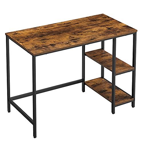 VASAGLE Schreibtisch, Computertisch, PC-Tisch, Bürotisch, mit 2 Ablagen auf der rechten oder linken Seite, fürs Büro, Wohnzimmer, Stahlgestell, Industrie-Design, vintagebraun-schwarz LWD046B01