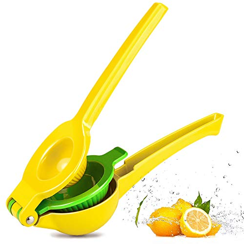 Chefbar Metal Lemon Lime Squeezer Manual Citrus Press Juicer Top Rated Premium Quality Citrus Juicers Aluminum Lime Squeezers, Fresh Force, Yellow