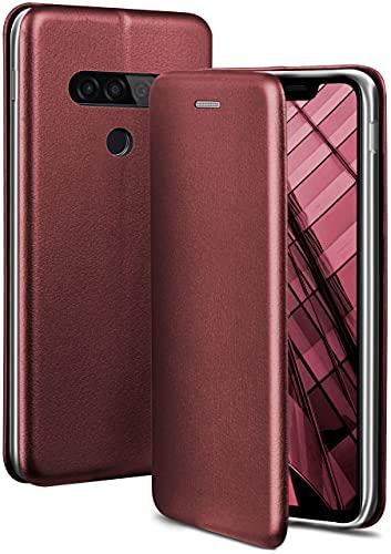 ONEFLOW Handyhülle kompatibel mit LG G8s ThinQ - Hülle klappbar, Handytasche mit Kartenfach, Flip Hülle Call Funktion, Leder Optik Klapphülle mit Silikon Bumper, Weinrot