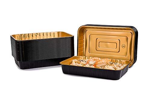 CONTITAL Contenitori 6 Porzioni in Alluminio laccato AS222040 Eclipse - Vaschette monouso Nero/Oro, Linea Eclipse, Luxury Food Delivery - Extra Rigidi, 50 pezzi