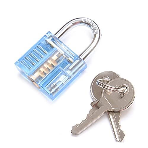 Candados con llave, 3 en 1 Set Locksmith Tools Practicar kit de bloqueo transparente con llave rota herramienta de llave extractora eliminación de hardware para armario de gimnasio, escuela, garaje,