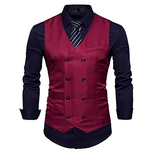 Zhiyuanan Herren Einfarbig Anzugweste Zweireihig Sakko Weste Große Größe Ärmellose Blazer Gilet