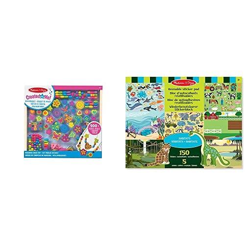 Melissa & Doug - Abalorios Para Manualidades (14169)+ Hábitats Bloc De Autoadhesivos Reutilizables, Multicolor (14196)