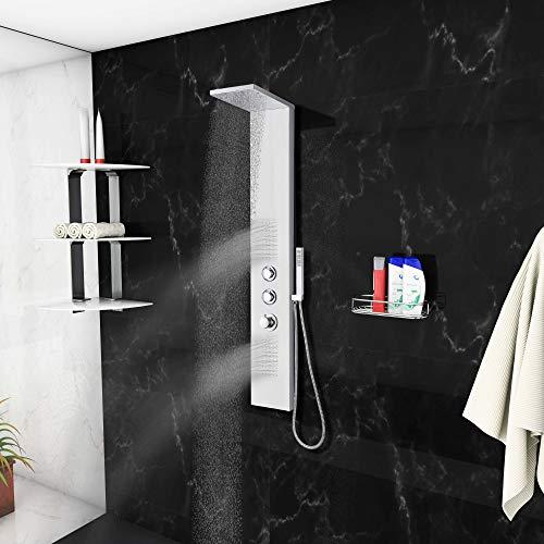 Blue Ocean 142,2cm sps8729de y huellas termostáticas Resistencia Panel de ducha de acero inoxidable con las precipitaciones cabezal de ducha, boquillas de cuerpo, y alcachofa de ducha de man
