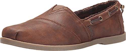 Skechers womens Chill Luxe - Buttoned Up Flat, Brown, 11 Wide US