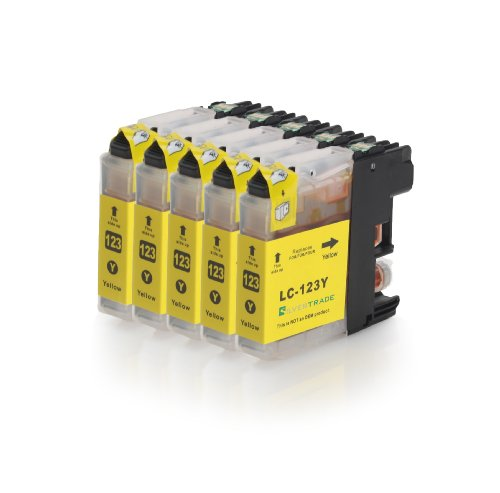 5x yellow XL Druckerpatronen (LC-121Y/LC-123Y) kompatibel zu BROTHER mit CHIP für Brother DCP-J752DW MFC-J870DW J6920 DW J4110 DW J4410 DW J4510 DW J4610 DW J4710 DW
