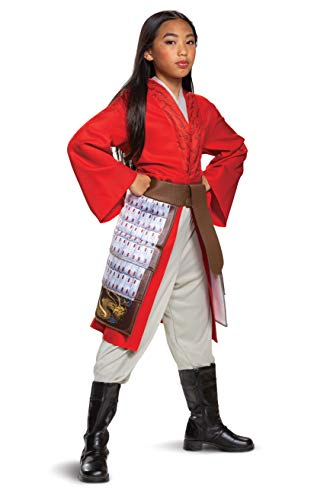 Mulan Costume for Girls, Deluxe Disney Live Action Movie Hero Dress Up Character Outfit, Kids Size Medium (7-8) Red